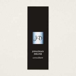 Modern Elegant Black Blue Monogram Consultant Mini Business Card