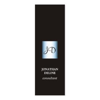 Modern Elegant Black Blue Monogram Consultant Pack Of Skinny Business Cards