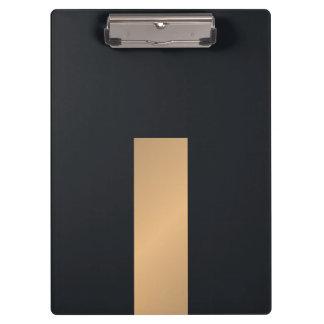 Modern Elegant Black Faux Gold Stripe Monogram Clipboard