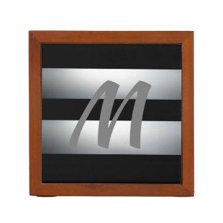 Modern, Elegant, Black & gray, Stylish, Initial Desk Organiser