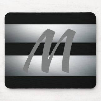 Modern, Elegant, Black & gray, Stylish, Initial Mouse Pad