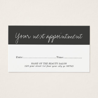 Modern Elegant Black White Beauty Appointment Card