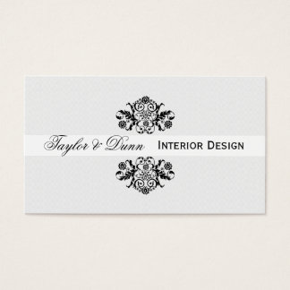 Modern | Elegant  Black White Ornamental Logo Business Card