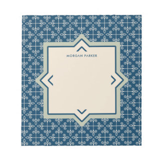 Modern Elegant Blue and Blush Pattern Notepad