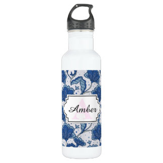Modern Elegant blue batik pattern 710 Ml Water Bottle