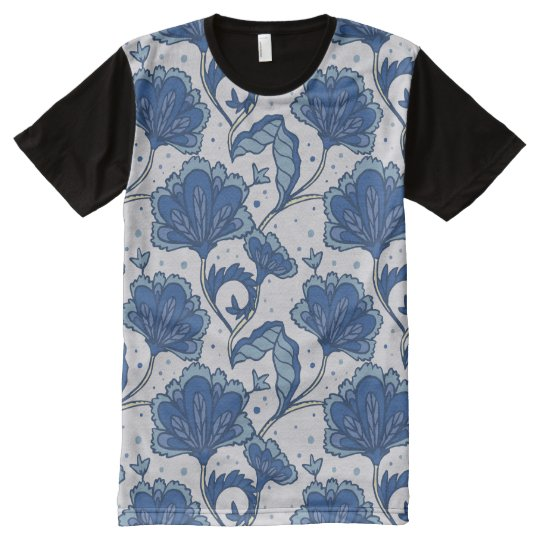 Modern Elegant blue batik pattern All-Over Print T-Shirt