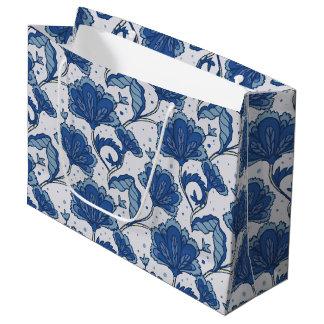 Modern Elegant blue batik pattern Large Gift Bag
