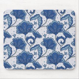 Modern Elegant blue batik pattern Mouse Pad