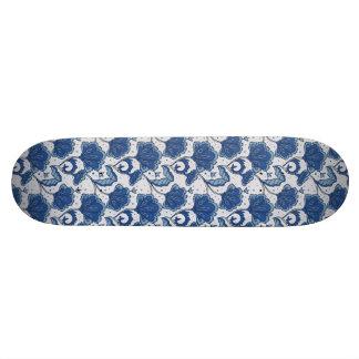 Modern Elegant blue batik pattern Skateboard Deck