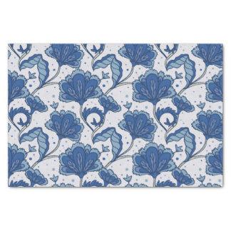 Modern Elegant blue batik pattern Tissue Paper