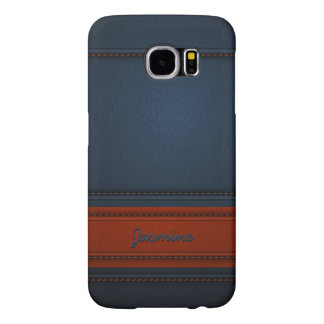 Modern Elegant Blue Leather Look Name Texture Samsung Galaxy S6 Cases