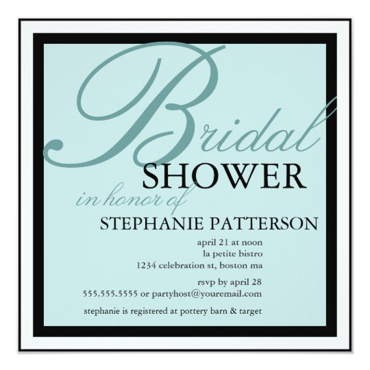 Modern & Elegant Bridal Shower in Teal Invitation
