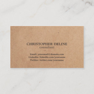 Kraft business cards zazzle au modern elegant brown kraft paper consultant business card reheart Image collections
