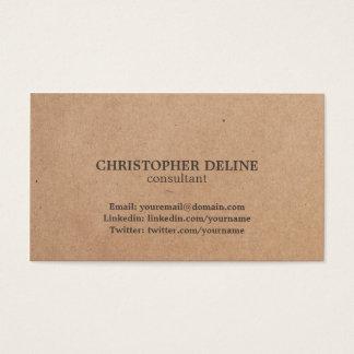 Modern Elegant Brown Kraft Paper Consultant Business Card