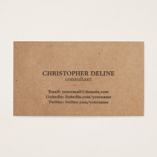Modern Elegant Brown Kraft Paper Consultant Business Card