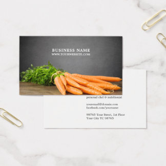 Modern Elegant Carrots Personal Chef Photo Business Card