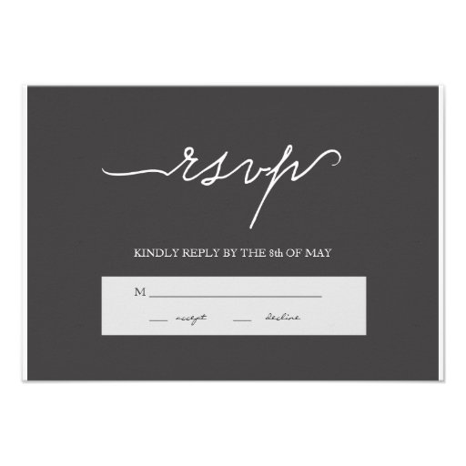 Modern Elegant Charcoal Wedding RSVP Personalized Announcement