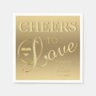 Modern & Elegant CHEERS TO LOVE Heart Gold Wedding Paper Serviettes