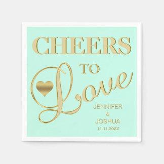 Modern & Elegant CHEERS TO LOVE MINT Gold Wedding Disposable Serviettes