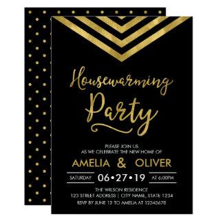 Modern Elegant Chevron Housewarming Party Card