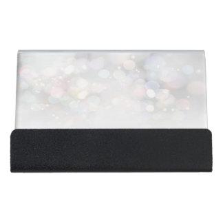 Modern Elegant Chic Bokeh Desk Business Card Holder