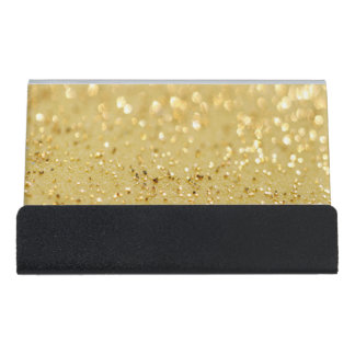 Modern Elegant Chic Faux Gold Glitter Desk Business Card Holder