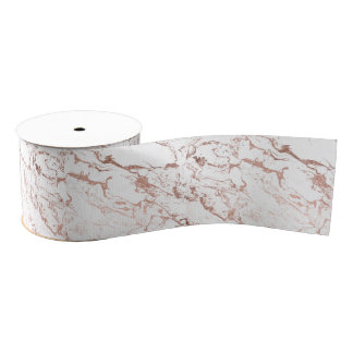 Modern elegant chic faux rose gold white marble grosgrain ribbon