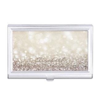 Modern Elegant Chic Glittery,Bokeh Business Card Holder