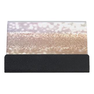 Modern Elegant Chic Glittery Bokeh Desk Business Card Holder