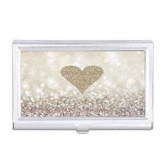Modern Elegant Chic Glittery,Bokeh,Heart Business Card Holder