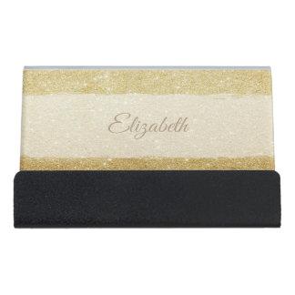 Modern Elegant Chic Gold Glittery-Personalized Desk Business Card Holder