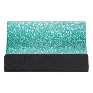 Modern Elegant Chic Green  Glittery Desk Business Card Holder