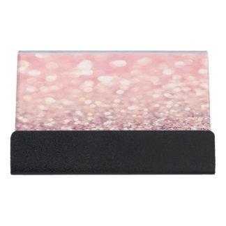 Modern Elegant Chic Pink  Glittery  Bokeh Desk Business Card Holder