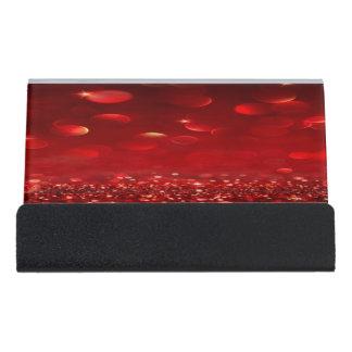Modern Elegant Chic Red Bokeh Desk Business Card Holder