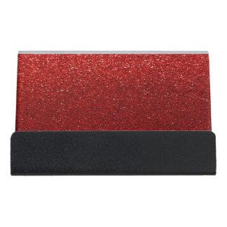 Modern Elegant Chic Red Glitter Desk Business Card Holder