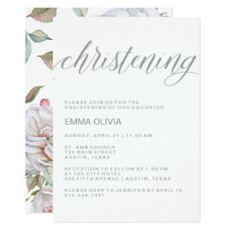 Modern Elegant Christening | Delicate Floral Back Card