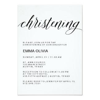 Modern Elegant Christening Text | Watercolor Paper 13 Cm X 18 Cm Invitation Card