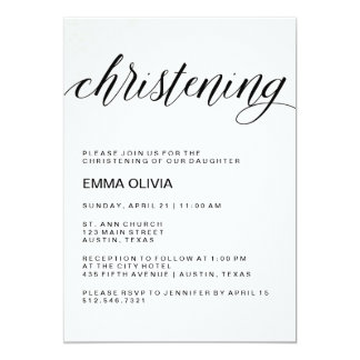 Modern Elegant Christening Text | Watercolor Paper Card