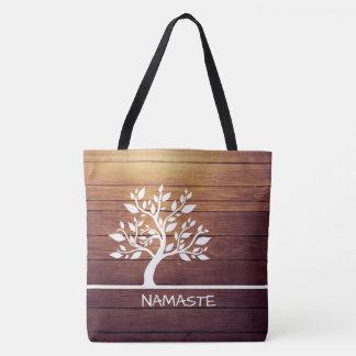 Modern Elegant Classy Tree Vintage Wood Background Tote Bag