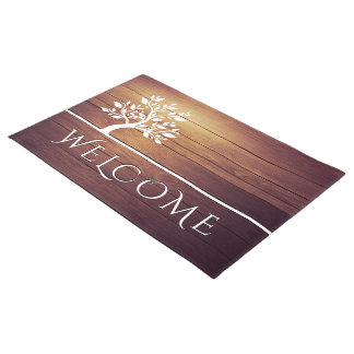Modern Elegant Classy Tree Vintage Wood Welcome Doormat