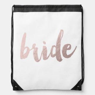 "modern elegant clear faux rose gold ""bride"" drawstring bag"