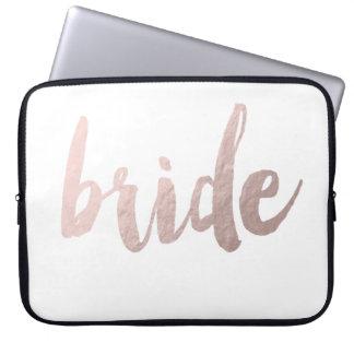 "modern elegant clear faux rose gold ""bride"" laptop sleeve"