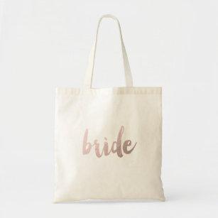 "modern elegant clear faux rose gold ""bride"" tote bag"