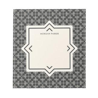 Modern Elegant Coal and Cream Pattern Notepad