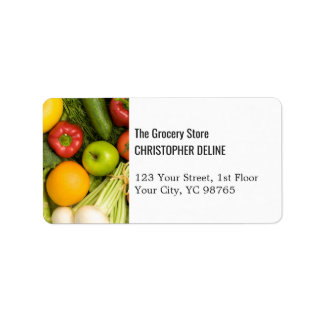 Modern Elegant Colorful Vegetables Grocery Farm Label
