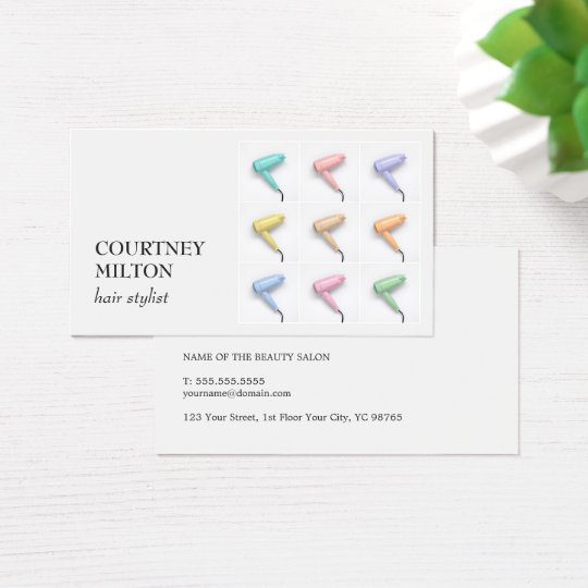 Modern Elegant Colourful Hair Dryer Hairstylist Business Card