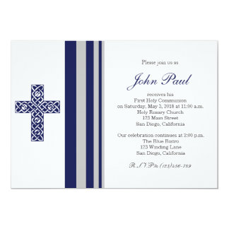 Modern Elegant Cross Communion Invitation for Boys Announcement