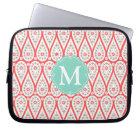 Modern Elegant Damask Coral Paisley Personalised Laptop Sleeve