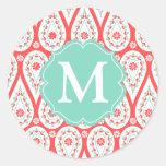 Modern Elegant Damask Coral Paisley Personalised Round Sticker