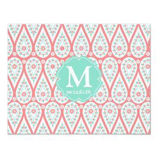Modern Elegant Damask Coral Paisley Personalized 11 Cm X 14 Cm Invitation Card